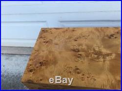 Milo Baughman Burled Olive Console Side Table Original Rare Gorgeous