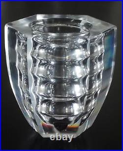 ORREFORS 1950s Edvin Ohrstrom Öhrström RARE Ribbed Optic Glass Vase, Sweden