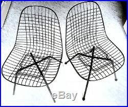 Original Pair Of Eames Herman Miller Wire Mesh DKR Chair X Metal Base Rare MCM