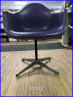 PURPLE EAMES HERMAN MILLER Vintage Fiberglass Arm Chair Vinyl Naugahyde MCM Rare