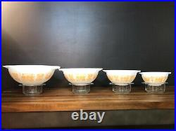 PYREX Rare Vintage Amish Complete Set #441-444 Butterprint Cinderella Bowls