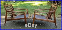 Pair Milo Baughman Thayer Coggin teak lounge chair mid century rare