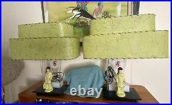 Pair Of Vintage Atomic 1950s Moss Lucite Lamp Fiberglass Shade Mcm Retro Rare