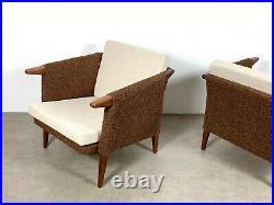 Pair Vintage Mid Century Danish Modern Rare Teak Cube Club Lounge Chairs Brown