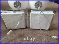 Pair of RARE Mid Century Modern Chrome White Glass Globe Table Lamps. Laurel
