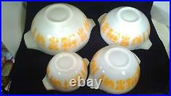 Pyrex Amish Orange Pumpkin Butterprint Cinderella Mixing Nesting Bowl Set 4 RARE
