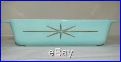 Pyrex Atomic Starburst Space Saver 575 RARE EVC No Lid Turquoise Aqua