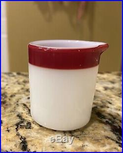 Pyrex Burgundy 1 Ounce Creamer Rare Mini Resturant Ware Horn Blower