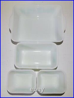 Pyrex Butterprint Refrigerator Dish Set RARE NEW OLD STOCK Turquoise White