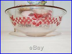 Pyrex Cherry Gingham Checkered Mixing Bowl Set 4 Piece RARE NEW IN BOX NOS