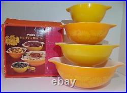 Pyrex Daisy Cinderella Bowl Set RARE NEW IN BOX NIB Yellow Orange Sunflower