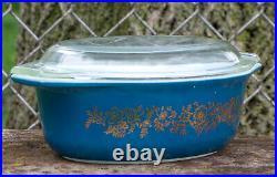 Pyrex Golden Bouquet Blue Vintage 1965 Promotional 043 Casserole Lid 1960s Rare