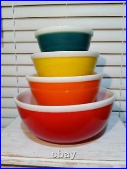 Pyrex JAJ RARE RAINBOWS (1972) HTF- COMPLETE 4 Bowl Set- Beautiful