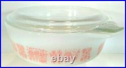 Pyrex Pink Butterprint #471 Casserole Bowl + Lid 1 Pint vintage RARE