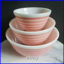 Pyrex Rainbow Pink Stripe 3pc Mixing Bowl Set 401, 402 & 403 Vintage Rare