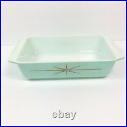 Pyrex Retro Atomic Blue Star Vintage MCM Casserole Dish Rare
