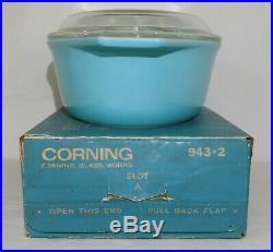 Pyrex Turquoise 1-1/2Qt Casserole ULTRA RARE NOS IN BOX Aqua Cinderella Bowl