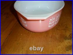 Pyrex Vintage Rare Pink Stems Oval Casserole Dish 043 1 1/2 Qt