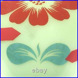 RARE 2pc Lot FIRE KING Jade-ite Splash Proof Bowls Red Flowers Jadeite 1950s-60s