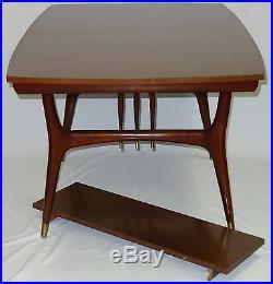 RARE 50's DANISH DESIGN MID CENTURY HOLMAN WALNUT DINNING TABLE with BRASS ACCENT