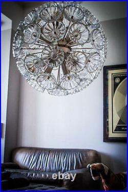 RARE 52 GLASS FLOWER STARBURST CHANDELIER SILVER SPUTNIK LIGHT 70`s 60's