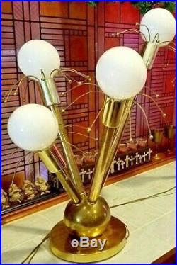 RARE ATOMIC MID CENTURY 4 Globe BAR LIGHT SPUTNIK METROPOLIS TABLE / BAR LAMP