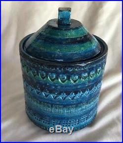 RARE Aldo Londi Bitossi Raymor Rimini Blu Ceramic Lidded Jar MCM Orig Label