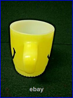 RARE Anchor Hocking Fire King Yellow Ribbed Bottom Happy Smiley Face Mug