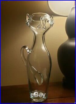 RARE Blenko Glass Kitty Cat #559 Vase by Wayne Husted Vintage 1955 MCM HTF EC