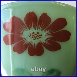 RARE Fire King Jadite / Jadeite / Jade-ite Splash Proof Bowl Red Flowers Label