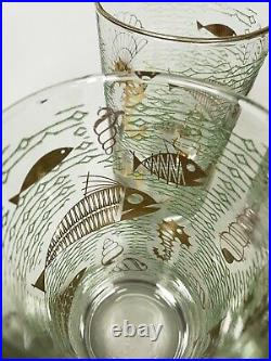 RARE/HTF Libbey Marine Life Gold Fish High Ball Drink Glasses Set of 8 WithCarrier
