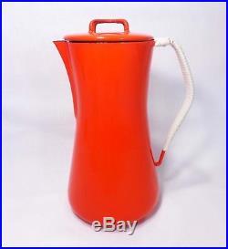 RARE JENS QUISTGAARD DANSK DESIGNS DENMARK VINT RED ENAMEL COFFEE POT, WithO GLASS