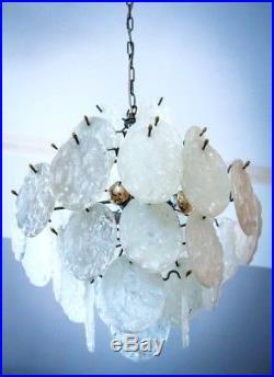 RARE KALMAR STYLE MELTING ICE GLAS BALLROOM CHANDELIER CEILING LAMP 70s 1970s