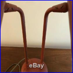RARE KURT VERSEN Table Lamp 1950s Double Pivot Cones Red Mid-Century Modern