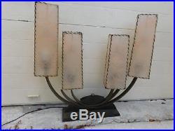 RARE MID CENTURY MODERN ATOMIC VINTAGE 50s MAJESTIC LAMP WithFIBERGLASS SHADES