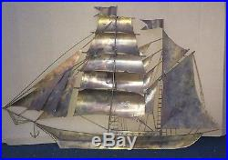 RARE! MID CENTURY MODERN BRUTALIST BRASS SHIP WALL ART! C. Jere Decor Vtg 1950s