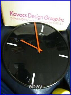 RARE MODERN GEORGE KOVACS Design Group WALL CLOCK BLACK GLASS