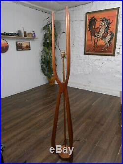 RARE Mid Century Danish Modern Adrian Pearsall Modeline Walnut Floor Lamp
