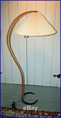 RARE Mid-Century Danish Modern CAPRANI Teak Bentwood ARC Floor Lamp Orig Shade