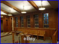 RARE Mid Century Modern Brass pierced barrel shade Pendant ceiling Light church