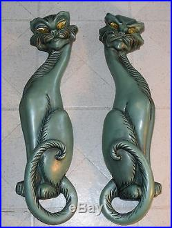 RARE Mid-Century Modern Plaster Aqua Pearl Color Figural Cat Pair Wall Art