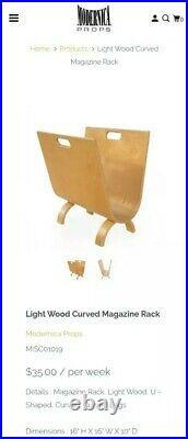 RARE Mid-Century Modern Single Piece Bent Wood Magazine Rack Holder with Handles