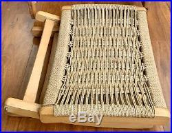 RARE Mid Century Wegner Rope Seat Folding Ottoman Stool MCM Danish Mobler Wood