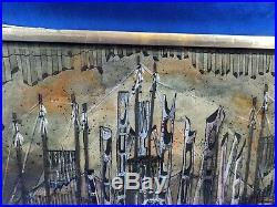 RARE Original Signed Abstract Fantasy Art Painting Mixed Mid Century Modern 1975