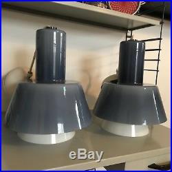 RARE PAIR of vintage mid century Italian Scandinavian glass pendant lamps venini