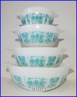RARE Pyrex ALL WHITE Butterprint Cinderella Mixing Bowl Set Turquoise Amish
