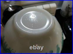 RARE Pyrex ALL WHITE Butterprint Cinderella Mixing Bowl Set Turquoise Amish EVC