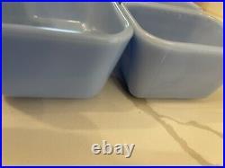 RARE Pyrex Blue Delphite Fridgies Full Set 3 piece No lids 501/502