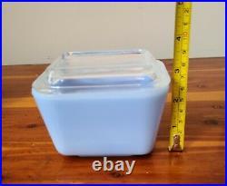 RARE Pyrex Blue Delphite Fridgies Full Set 3 piece with lids 501/502