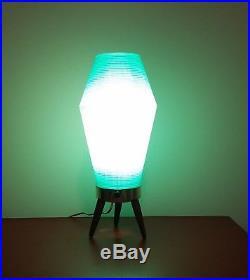 RARE SHAPE Vintage Mid Century Beehive Lamp Blue Turquoise Wood Tripod Legs